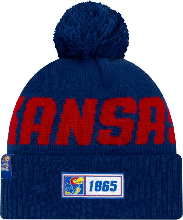 New Era Men's Kansas Jayhawks Blue Sideline Road Cuffed Knit Beanie product image