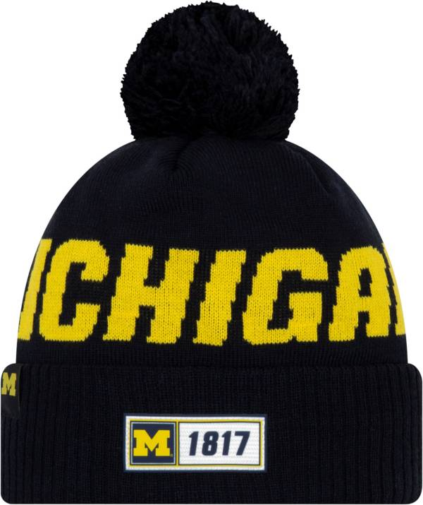 New Era Men's Michigan Wolverines Blue Sideline Road Cuffed Knit Beanie product image