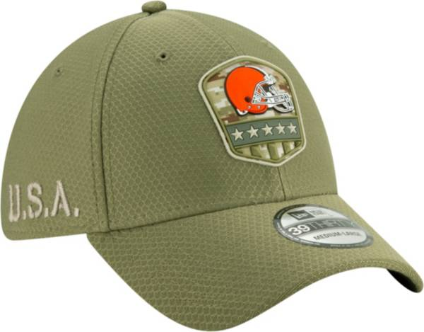 New Era Men's Salute to Service Cleveland Browns 39Thirty Olive Stretch Fit Hat product image