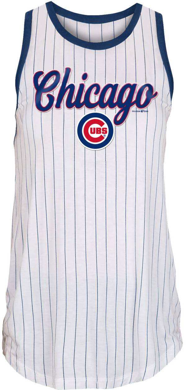 New Era Women's Chicago Cubs White Pinstripe Muscle Tank Top product image