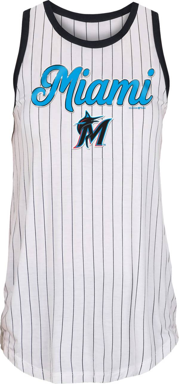 New Era Women's Miami Marlins White Pinstripe Muscle Tank Top product image