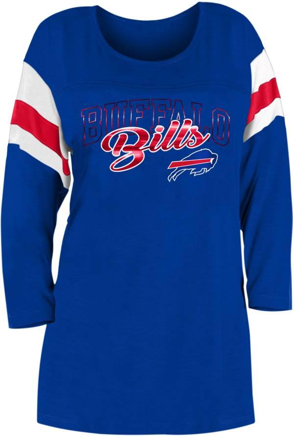 New Era Women's Buffalo Bills Foil Slub Royal Three-Quarter Sleeve T-Shirt product image