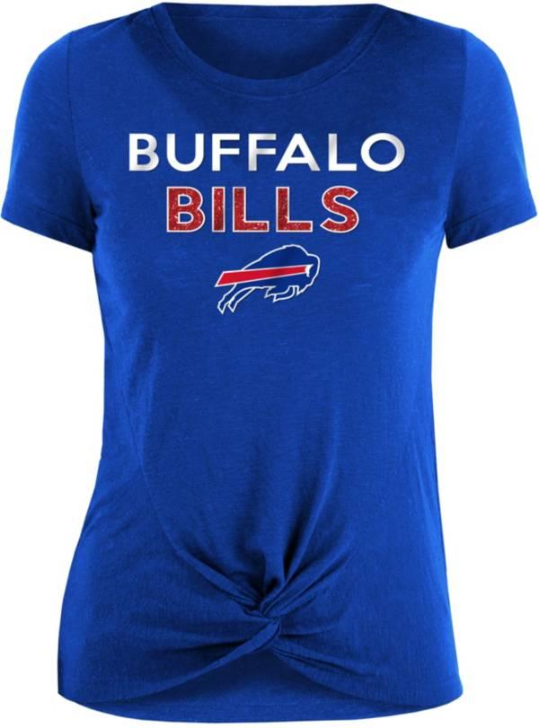 New Era Women's Buffalo Bills Blue Glitter Knot Front T-Shirt product image