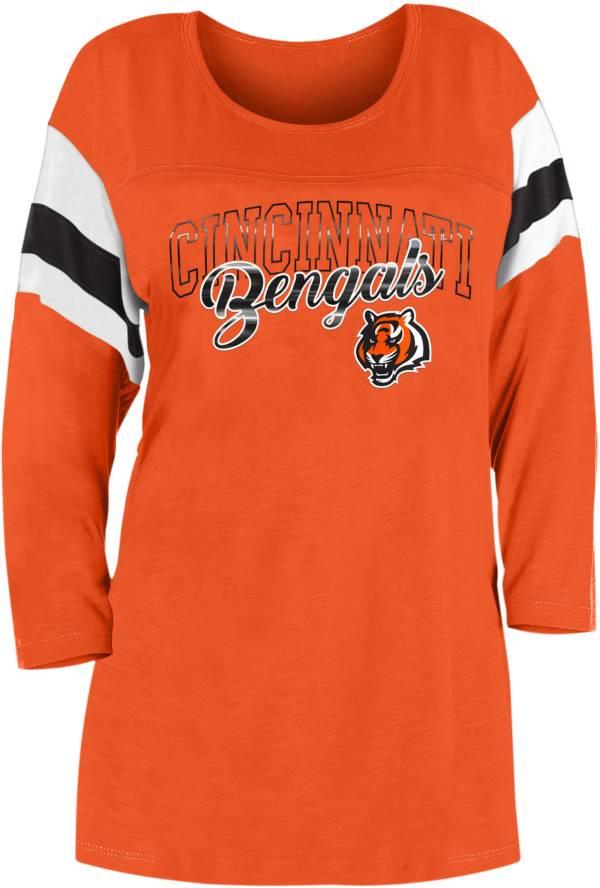 New Era Women's Cincinnati Bengals Foil Slub Orange Three-Quarter Sleeve T-Shirt product image