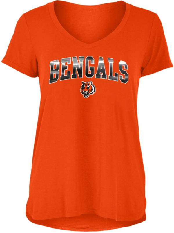 New Era Women's Cincinnati Bengals Orange Foil V-Neck T-Shirt product image