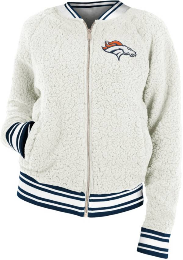 New Era Women's Denver Broncos Sherpa White Full-Zip Jacket product image