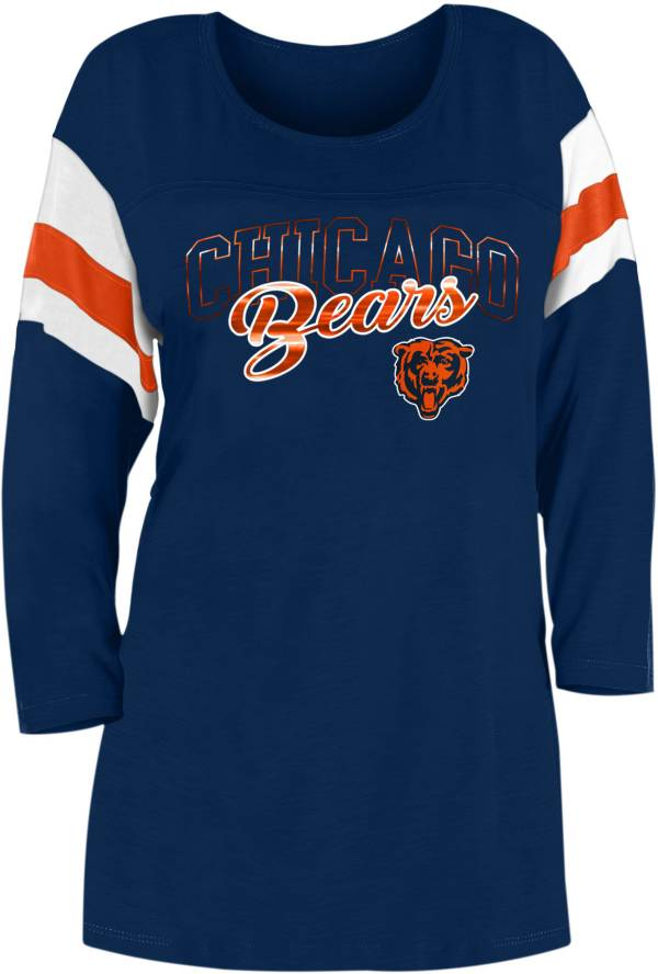 New Era Women's Chicago Bears Foil Slub Navy Three-Quarter Sleeve T-Shirt product image