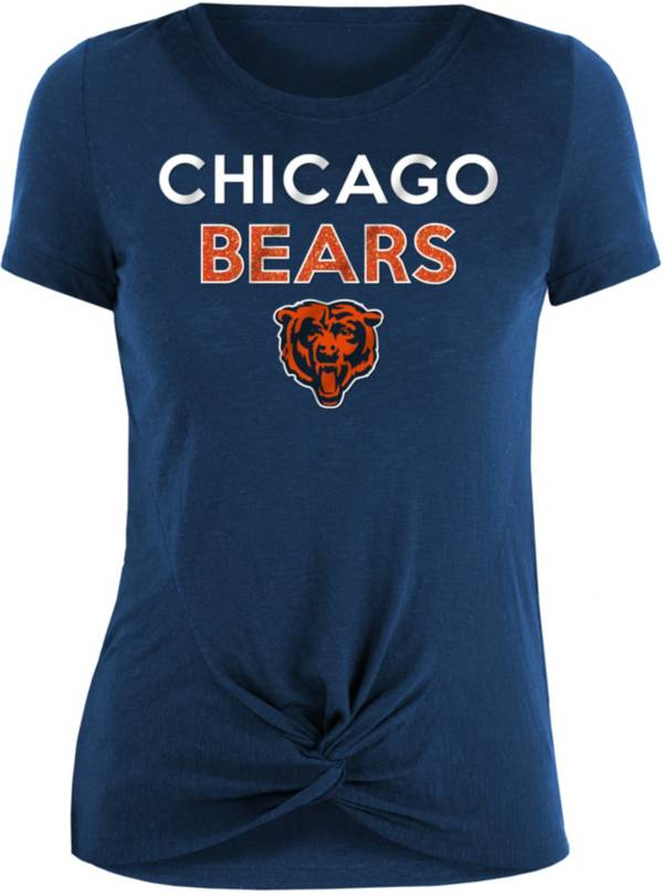 New Era Women's Chicago Bears Navy Glitter Knot Front T-Shirt product image