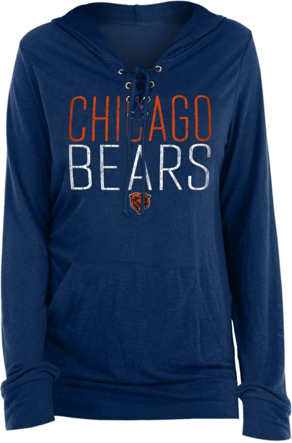 New Era Women's Chicago Bears Lace Hood Navy Long Sleeve T-Shirt product image