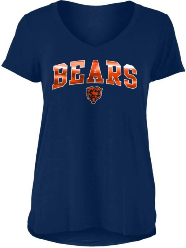 New Era Women's Chicago Bears Navy Foil V-Neck T-Shirt product image