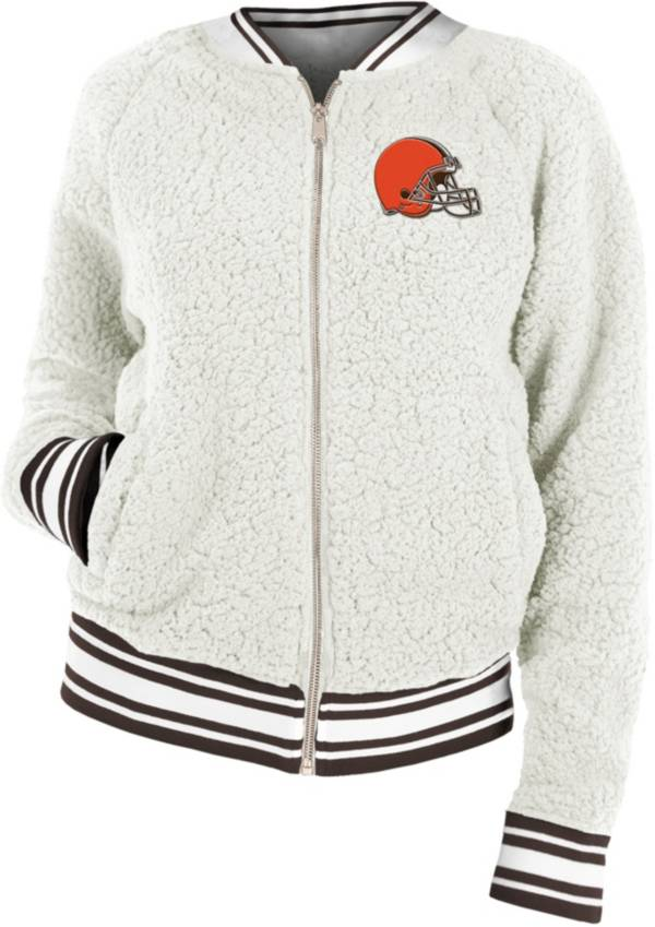 New Era Women's Cleveland Browns Sherpa White Full-Zip Jacket product image