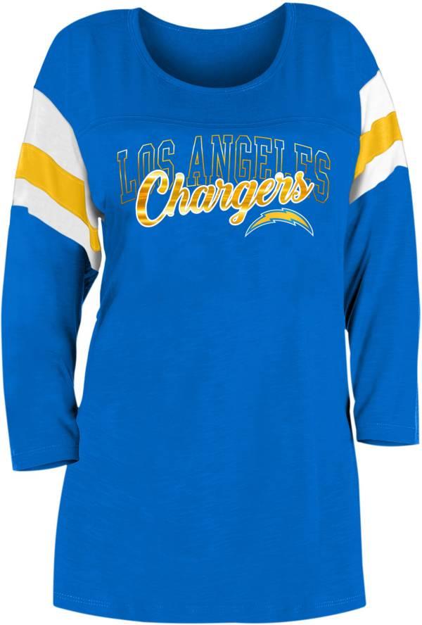 New Era Women's Los Angeles Chargers Foil Slub Navy Three-Quarter Sleeve T-Shirt product image
