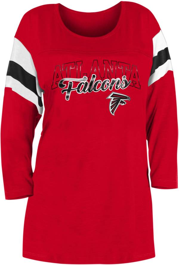 New Era Women's Atlanta Falcons Foil Slub Red Three-Quarter Sleeve T-Shirt product image