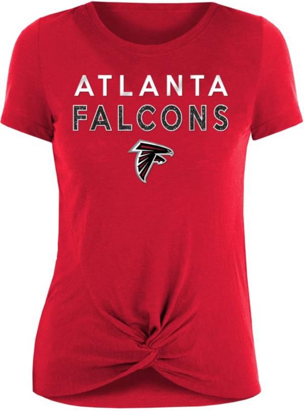 New Era Women's Atlanta Falcons Red Glitter Knot Front T-Shirt product image