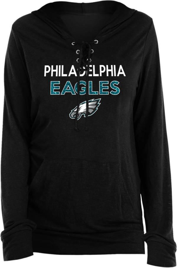 New Era Women's Philadelphia Eagles Lace Hood Black Long Sleeve T-Shirt product image