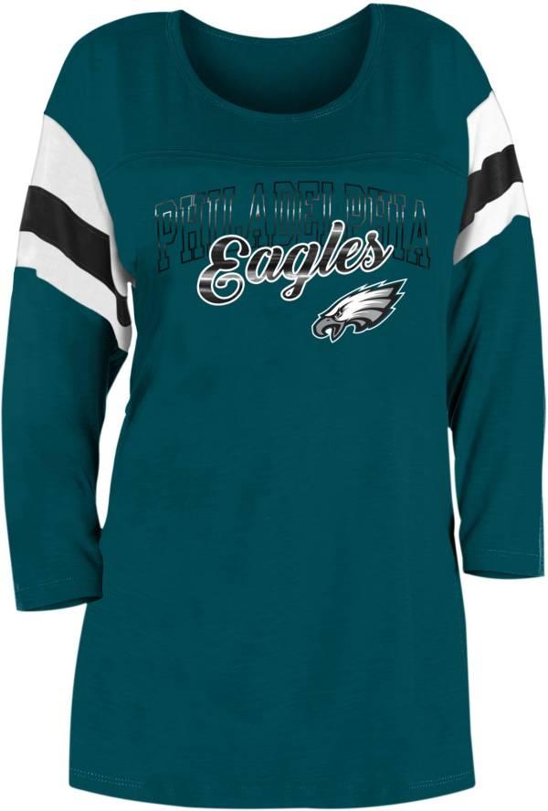 New Era Women's Philadelphia Eagles Foil Slub Green Three-Quarter Sleeve T-Shirt product image