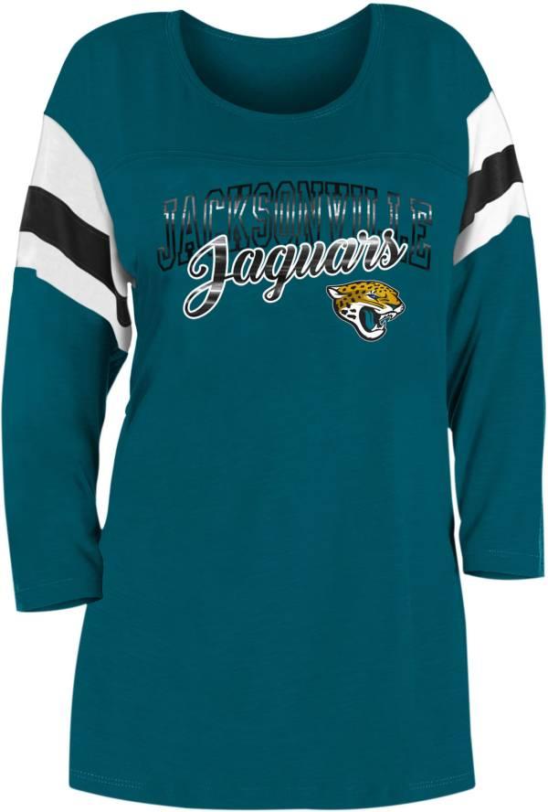 New Era Women's Jacksonville Jaguars Foil Slub Teal Three-Quarter Sleeve T-Shirt product image