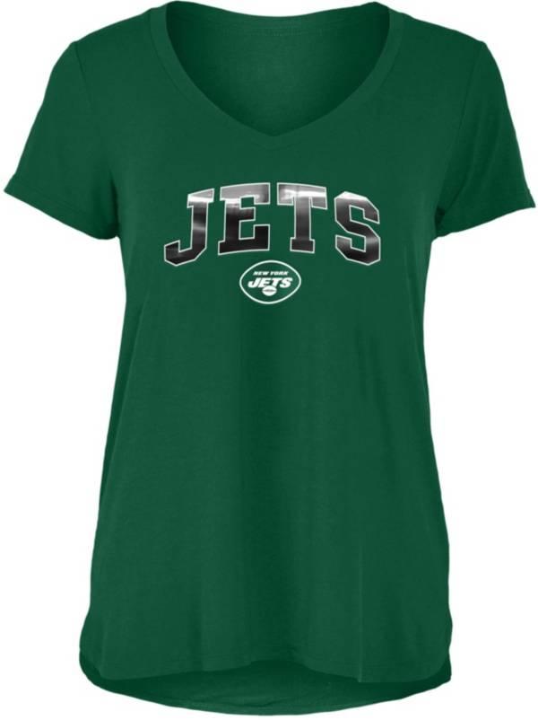 New Era Women's New York Jets Green Foil V-Neck T-Shirt product image