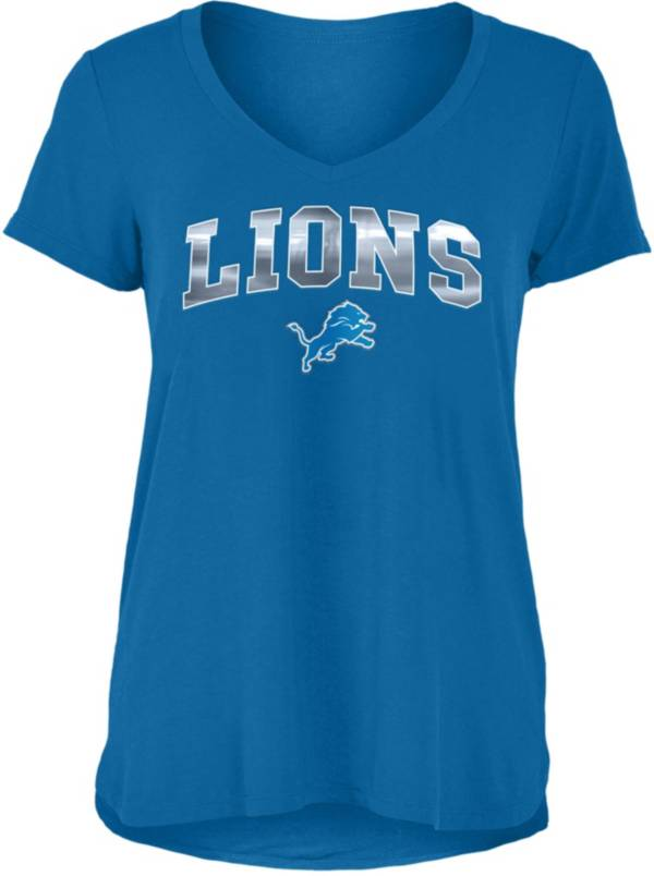 New Era Women's Detroit Lions Blue Foil V-Neck T-Shirt product image