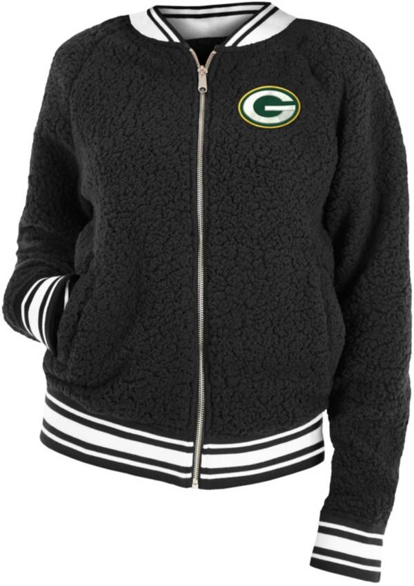 New Era Women's Green Bay Packers Sherpa Black Full-Zip Jacket product image