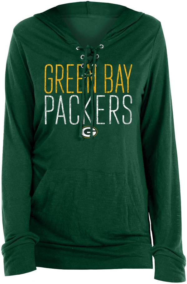 New Era Women's Green Bay Packers Lace Hood Green Long Sleeve T-Shirt product image