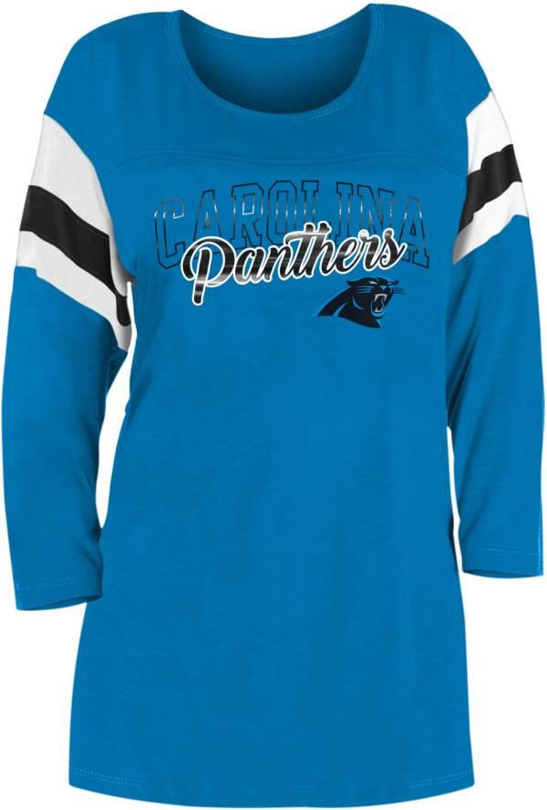 New Era Women's Carolina Panthers Foil Slub Blue Three-Quarter Sleeve Shirt product image