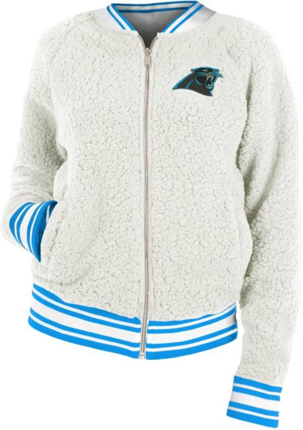 New Era Women's Carolina Panthers Sherpa White Full-Zip Jacket product image