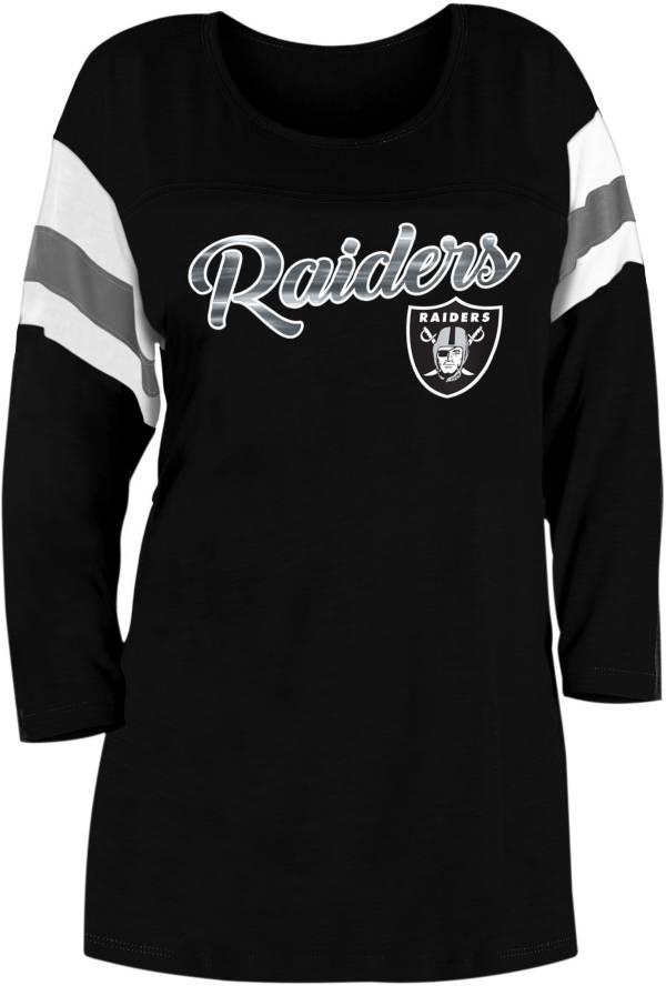 New Era Women's Las Vegas Raiders Foil Slub Black Three-Quarter Sleeve T-Shirt product image
