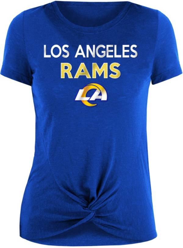 New Era Women's Los Angeles Rams Blue Glitter Knot Front T-Shirt product image