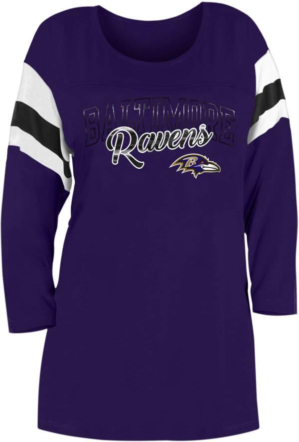 New Era Women's Baltimore Ravens Foil Slub Purple Three-Quarter Sleeve T-Shirt product image