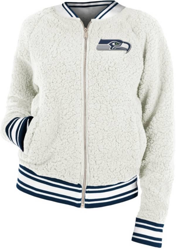 New Era Women's Seattle Seahawks Sherpa White Full-Zip Jacket product image