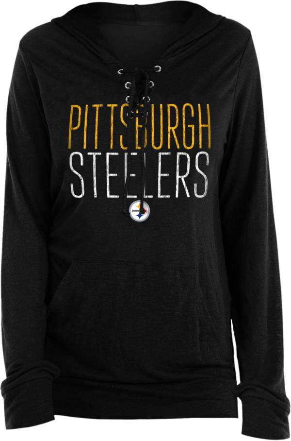 New Era Women's Pittsburgh Steelers Lace Hood Black Long-Sleeve Shirt product image