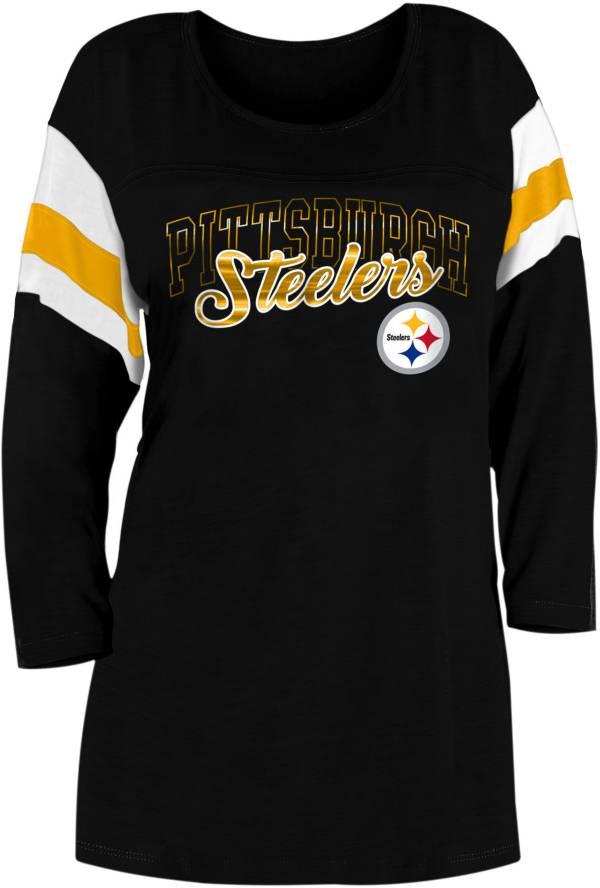 New Era Women's Pittsburgh Steelers Foil Slub Black Three-Quarter Sleeve Shirt product image