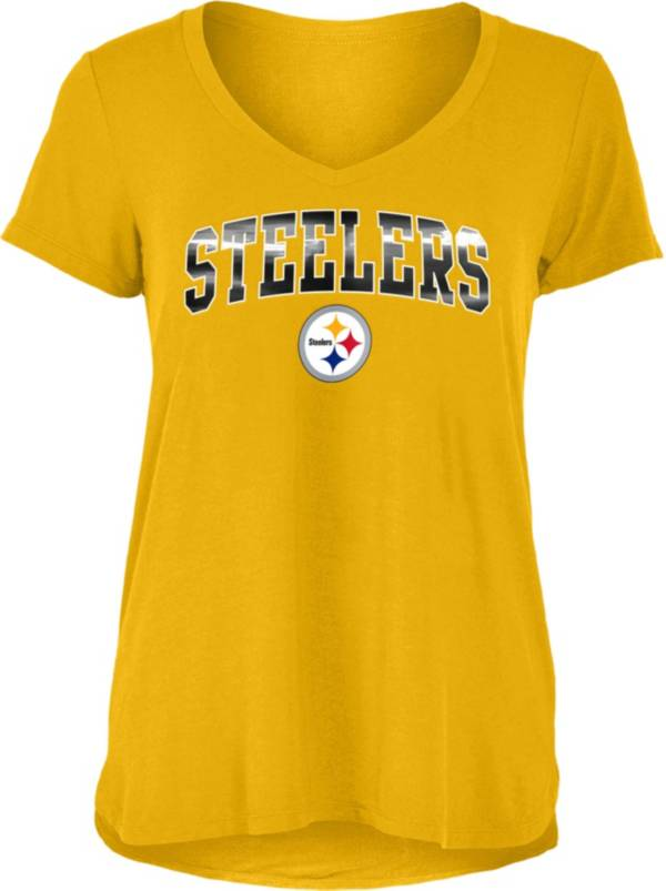New Era Women's Pittsburgh Steelers Gold Foil V-Neck T-Shirt product image