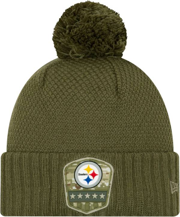 New Era Women's Salute to Service Pittsburgh Steelers Olive Cuffed Pom Knit Hat product image