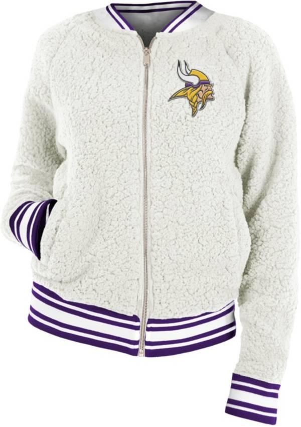 New Era Women's Minnesota Vikings Sherpa White Full-Zip Jacket product image