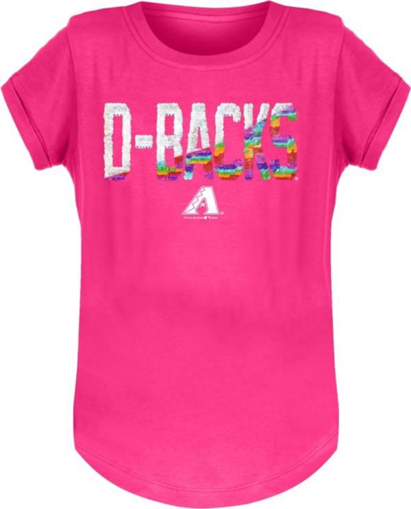 New Era Youth Girls' Arizona Diamondbacks Pink Flip Sequins T-Shirt product image