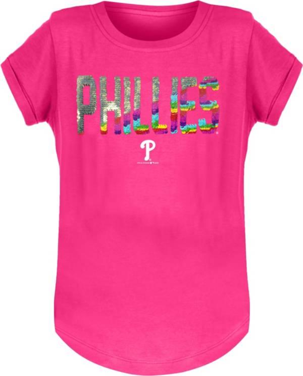 New Era Youth Girls' Philadelphia Phillies Pink Flip Sequins T-Shirt product image