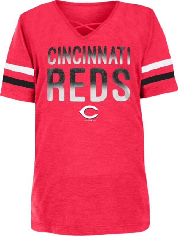 New Era Youth Girls' Cincinnati Reds Red Slub V-Neck T-Shirt product image