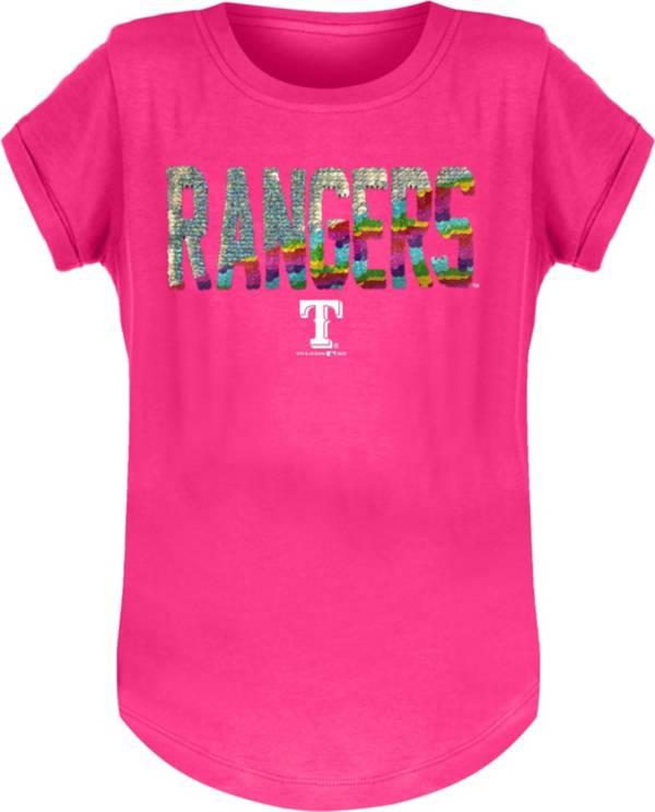 New Era Youth Girls' Texas Rangers Pink Flip Sequins T-Shirt product image