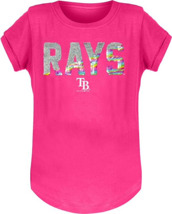 New Era Youth Girls' Tampa Bay Rays Pink Flip Sequins T-Shirt product image