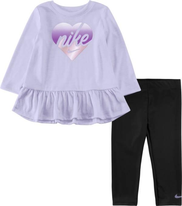 Nike Little Girls' Peplum Graphic Long Sleeve Shirt and Leggings Set product image
