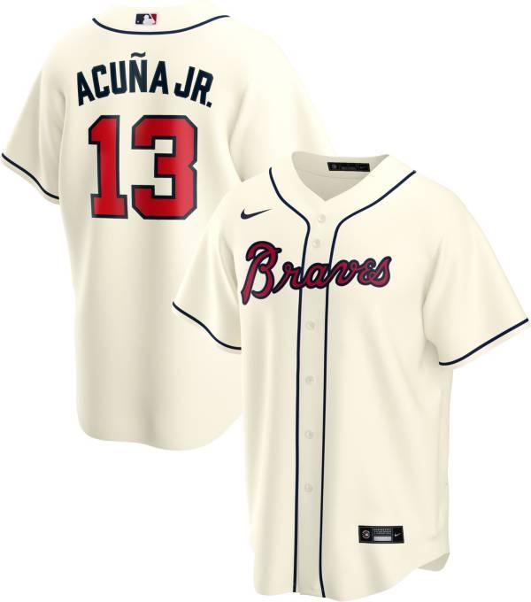 Nike Men's Replica Atlanta Braves Alcuna Jr. #13 Cream Cool Base Jersey product image