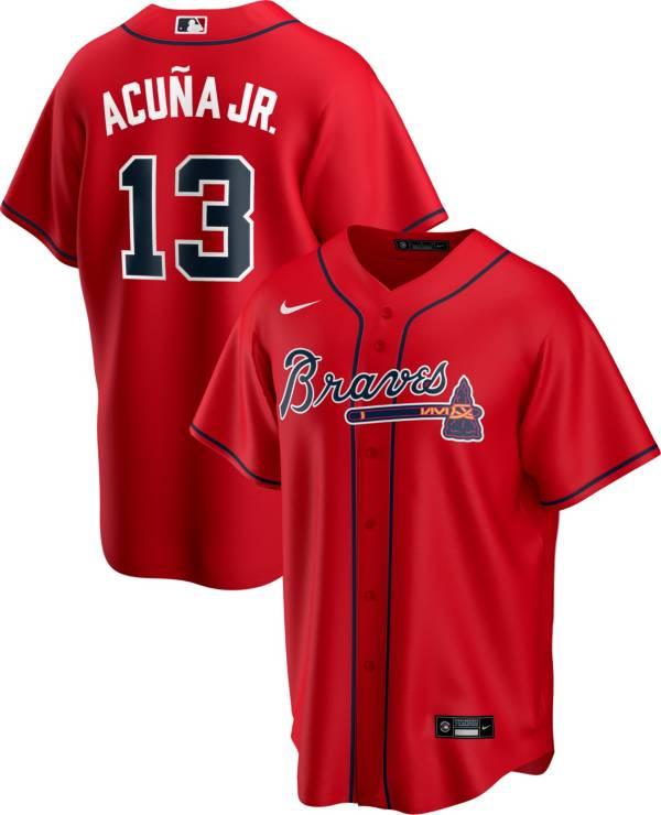 Nike Men's Replica Atlanta Braves Acuna Jr. #13 Red Cool Base Jersey product image