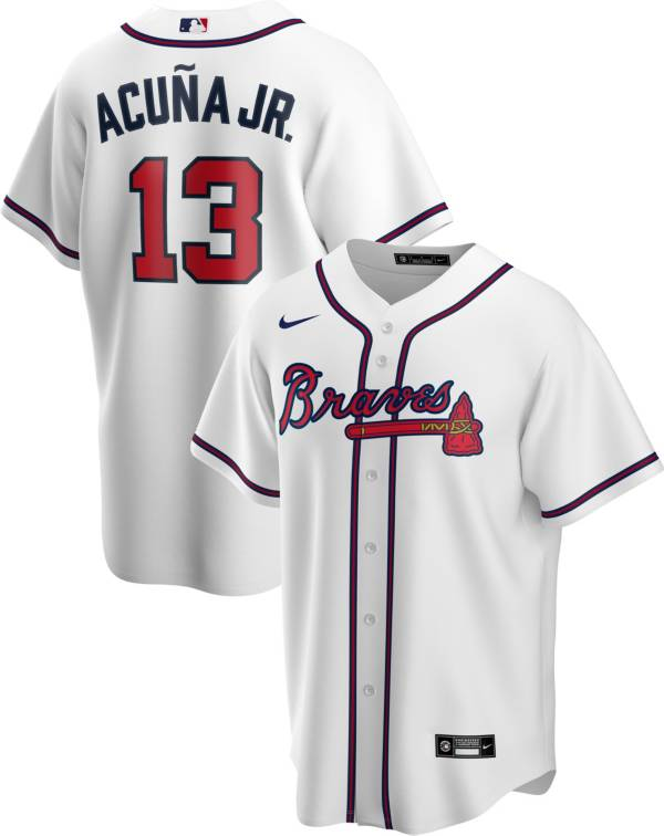 Nike Men's Replica Atlanta Braves Acuna Jr. #13 White Cool Base Jersey product image