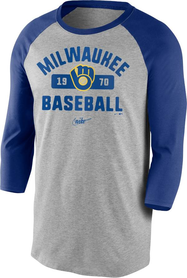 Nike Men's Milwaukee Brewers Grey Cooperstown Vintage Raglan Three-Quarter Sleeve T-Shirt product image