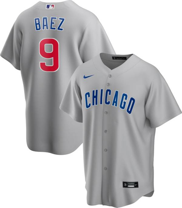 Nike Men's Replica Chicago Cubs Javier Baez #9 Grey Cool Base Jersey product image