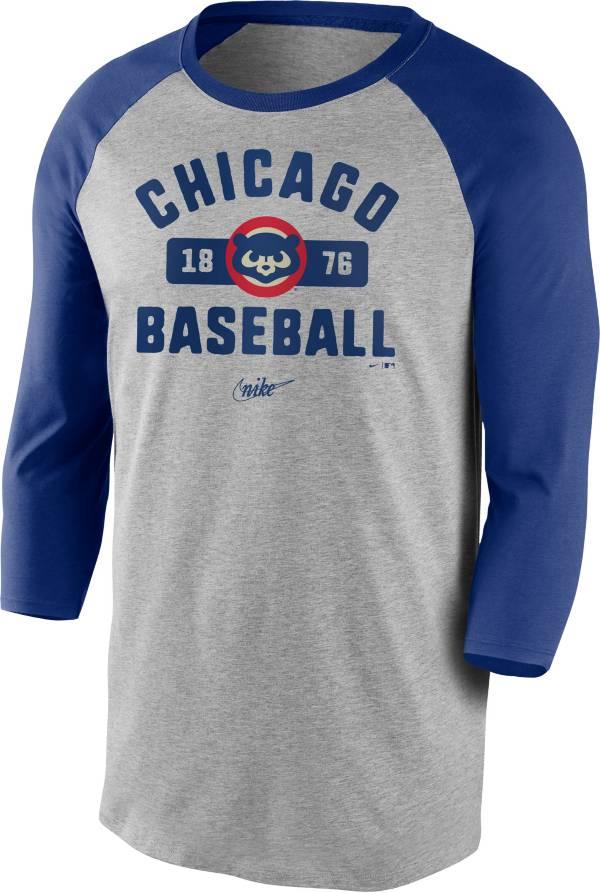 Nike Men's Chicago Cubs Grey Cooperstown Vintage Raglan Three-Quarter Sleeve T-Shirt product image