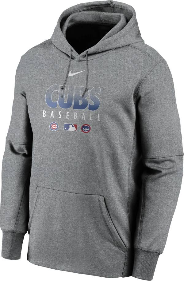 Nike Men's Chicago Cubs Grey Dri-FIT Therma Pullover Hoodie product image