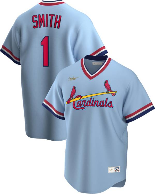 Nike Men's St. Louis Cardinals Ozzie Smith #1 Blue Cooperstown V-Neck Pullover Jersey